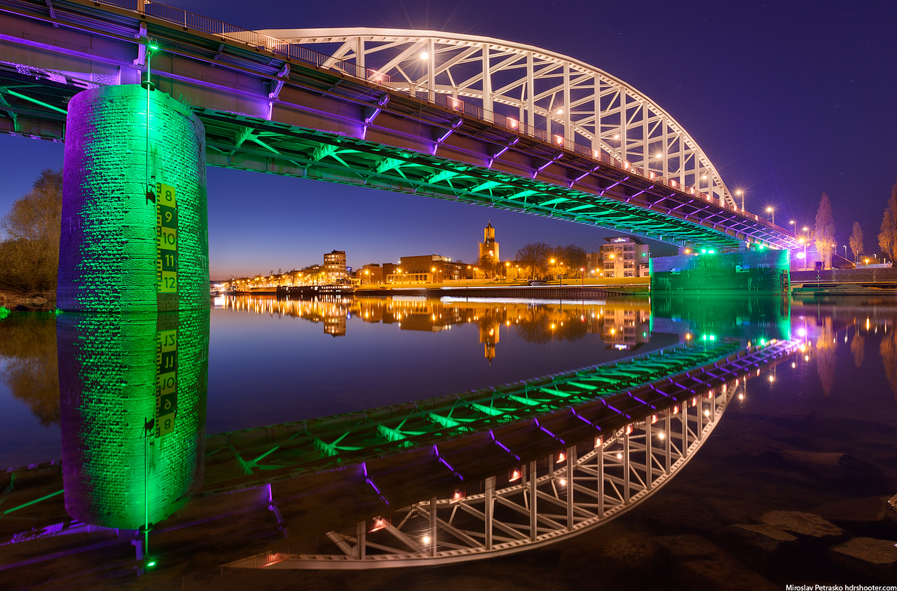 Neon lights on the bridge, John Frost, Arnehm, Netherlands