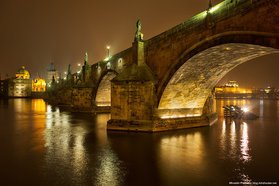 Foggy night by the Charles bridge