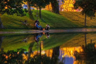 "Night fishing  I know, I know.. .another reflection :) I just really like to have reflections in my photos. I think, if I ever start a new blog, I will have ""reflection"" directly in the name :).  This is one of those night shots, I sometimes do, where I'm absolutely not sure how they will turn out. I had to push my iso up to 400, just to fit into the 30 seconds for my +2EV photo, and I had to focus manually on one of the lights in the background, since that was the only thing I saw on the cameras screen. But it worked quite nicely :)  Taken at Strkovec lake in Bratislava  HDR from three shots, taken with Canon 450D with Sigma 18-200mm lens, from a tripod."