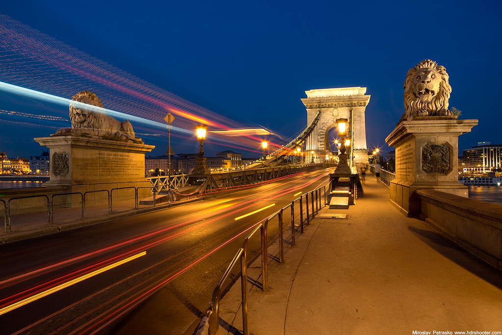 Blur hour lions, Budapest, Hungary, Chain bridge