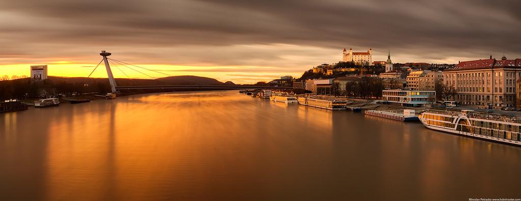 Long exposure sunset, Bratislava, Slovakia, Danube
