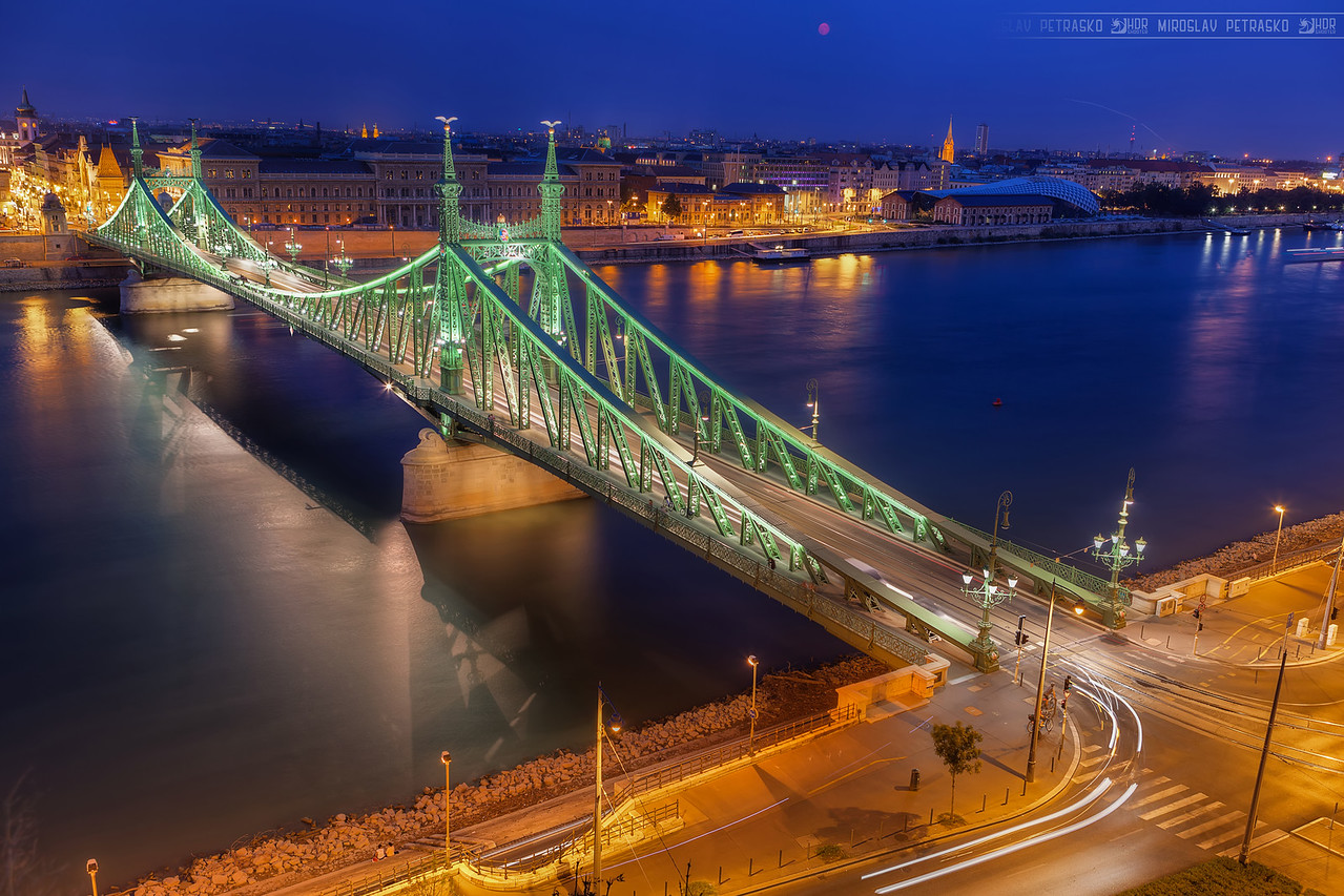 Red moon over the bridge