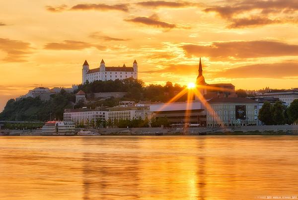 The setting sun in Bratislava