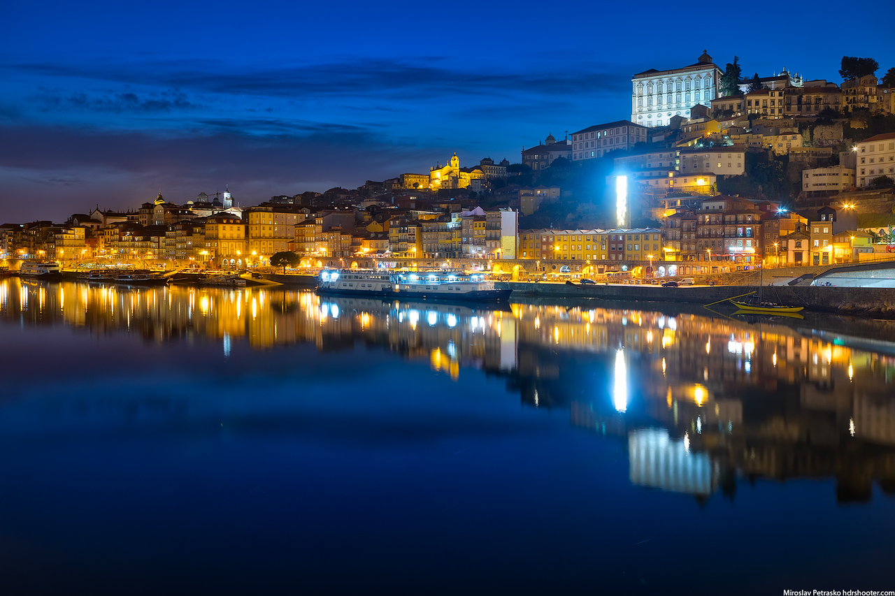 Lit up reflection in Porto