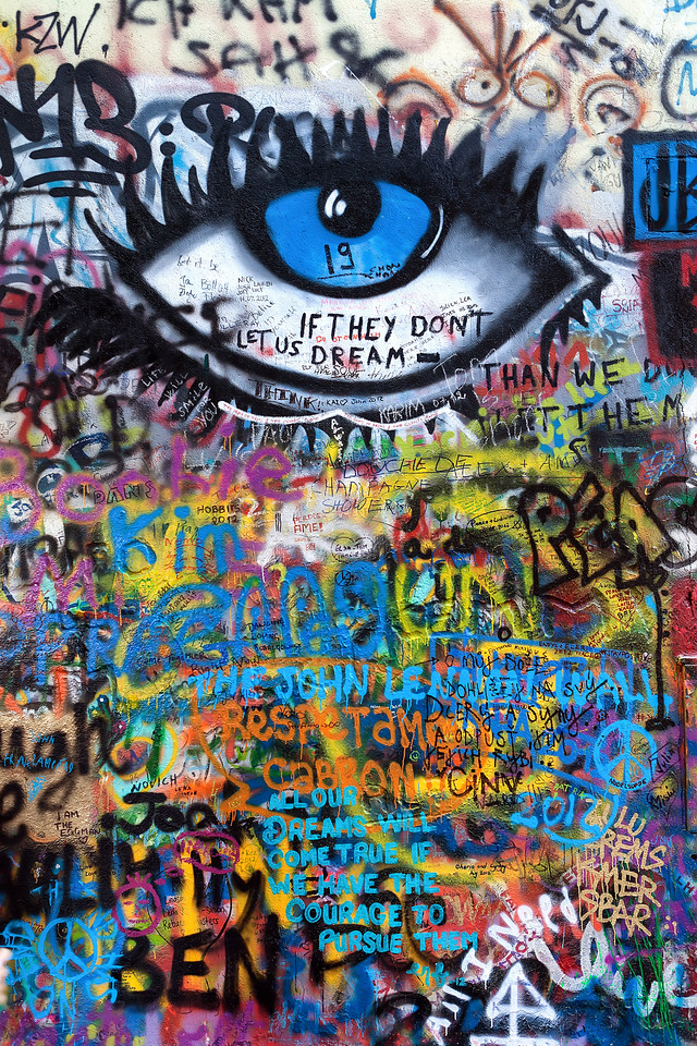 Eye on the wall One more from the John Lennon wall (I will maybe add some more ). I just love all the colors you can get in one photo here.