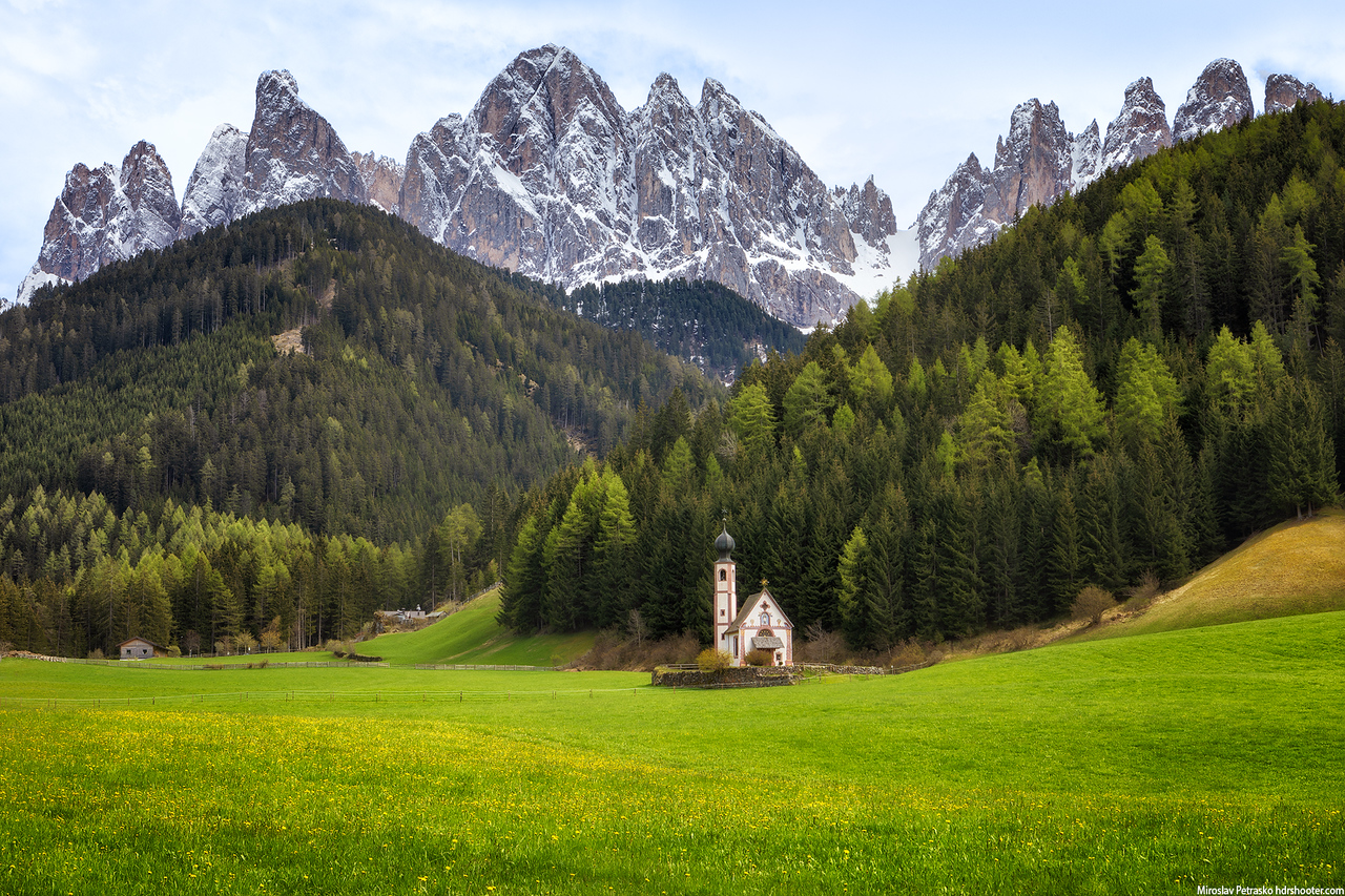 The small St. Johann Church, Santa Magdalena, Dolomites, Italy