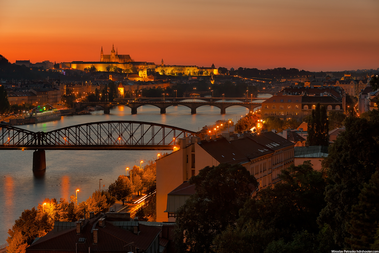 Sunset colors over Prague