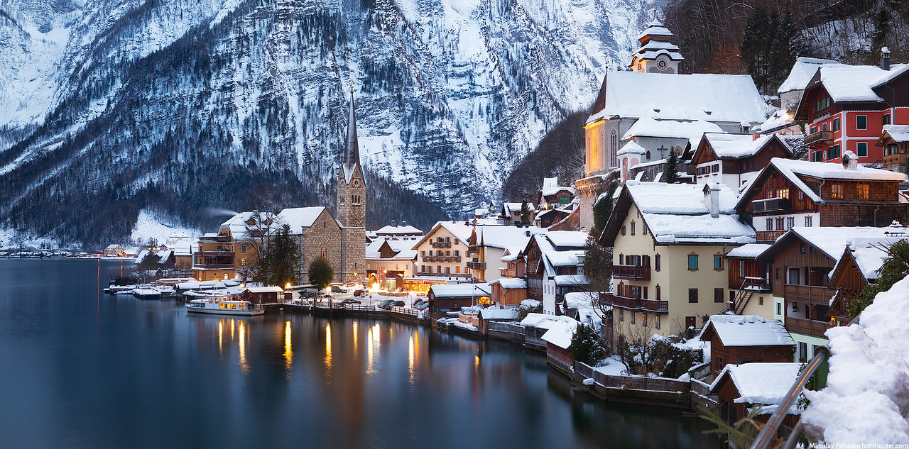 Snow covered Hallstatt, Hallstatt, Austria