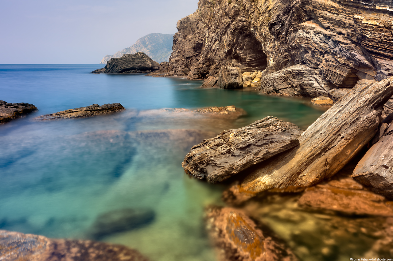 At the rocks in Vernazza, Cinque Terre, Italy