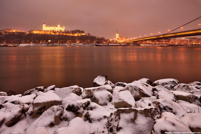 Little snow by Danube