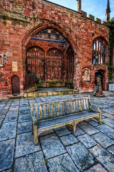 Detailed Bench<br /> <br /> Sometimes I go with the details in a HDR shot a little overboard, but I think it kind of works in this shot. Photo taken at the St. Michael's cathedral ruins in Coventry, UK.<br /> <br /> HDR from three shots, taken with Canon 450D with Sigma 10-20mm lens, handheld.