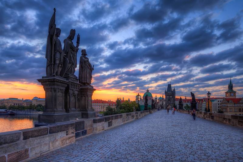 Triple statue The Charles bridge is so great for photos. You can just shoot and shoot and shoot. And that's exactly what I did. And the sky I got, just made it better.