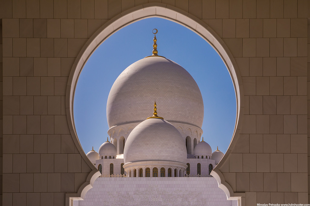 Framed view of the Grand Mosque, Abu Dhabi, UAE