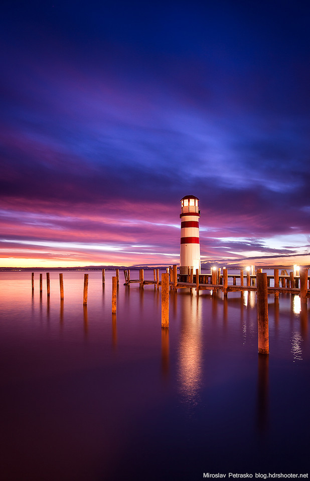 Purple sky around the Lighthouse