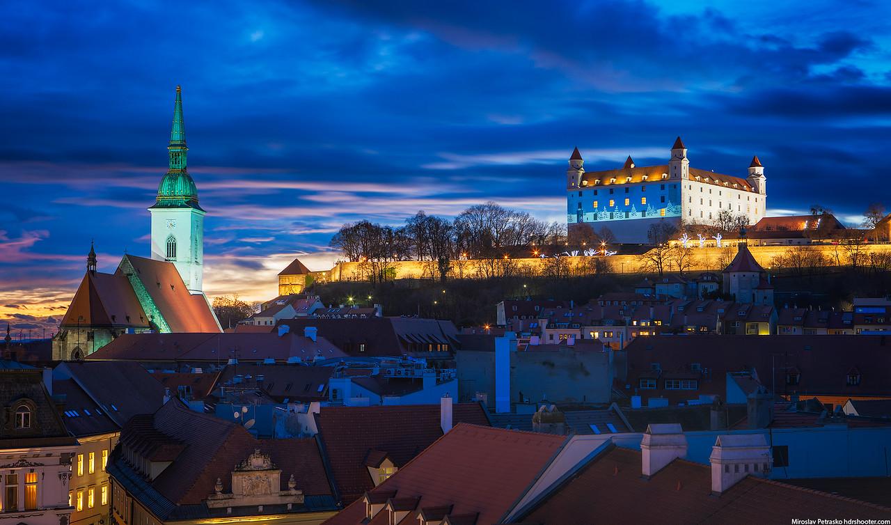 Light projection on the Bratislava castle, Bratislava, Slovakia