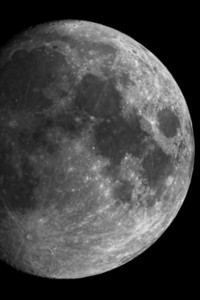 Part of the Moon  I really tried to take a photo of the moon with my 200mm lens (which is around 300 on my crop sensor camera) but the moon was always so small on the photo. So this time I attached my camera to a Celestron CPC 1100 GPS (I'm not 100% sure about the type) telescope which is 2800mm. I still think that the photo could be sharper, but for a first try I think it's quite good :)  I took three shots, but Photomatix was not able to properly align them, so I created a HDR from a single RAW. It's also converted to B&W as it had this yellowish color, which I didn't liked at all.  HDR from a single RAW file, taken with Canon 450D with Celestron telescope.