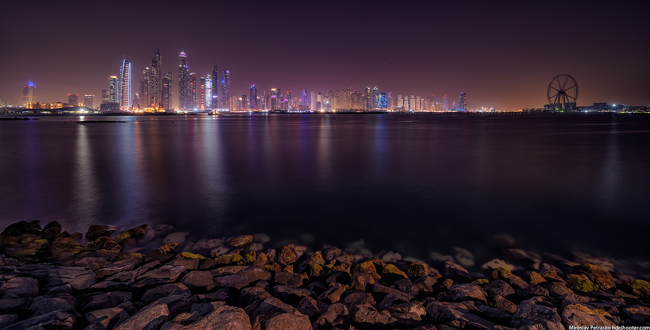 Dubai marina in the distance, Dubai, UAE