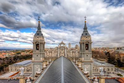 View across the cathedral This is the view you get when you go up onto the tower of the Almudena cathedral in Madrid and look towards the Royal palace.