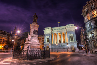 Last night in Madrid  This was taken the last night I was in Madrid. My friends decided to visit a gallery, but I preferred a place where I could take photos. This was again a scene like created for a HDR. The whole bottom part is very light, with the building and the base of the statue very bright. On the other side, the sky was dark, and the statue has no lights pointing to it.  But with HDR I got both.  Get more info about this photo on my blog http://blog.hdrshooter.net