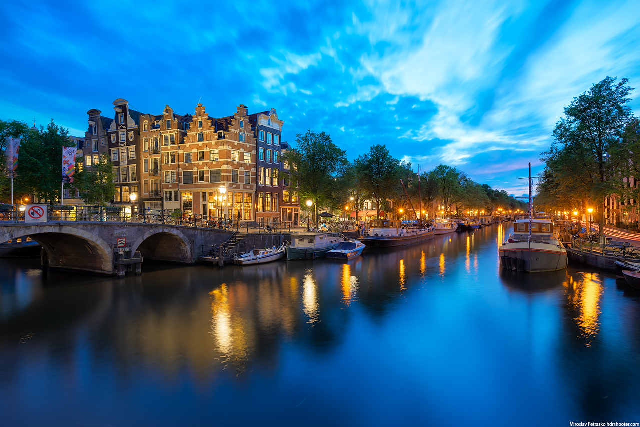 Colorful evening in Amsterdam