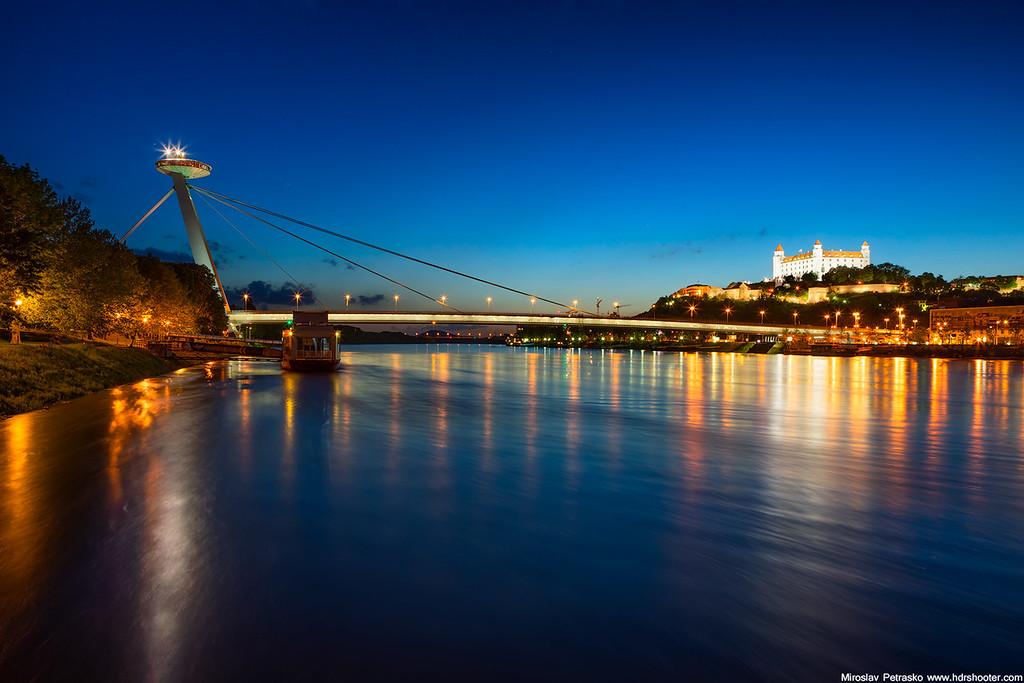 The landmarks across Danube in Bratislava