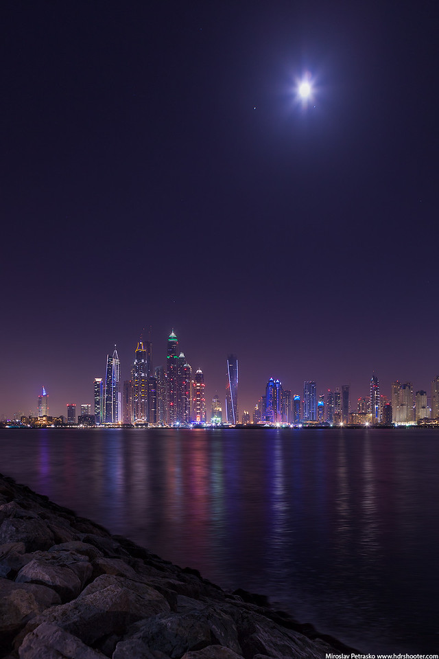 Moon over Dubai Marina