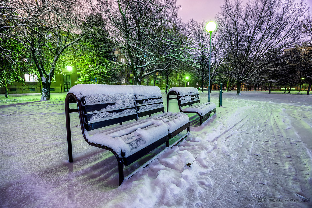 Snow arrived in Bratislava So we got snow today in Bratislava. And it's still snowing. I didn't have so much time, so I just went for a while into the close by park, to take few photos. Btw. the light in the background really give of a green light, just not so saturated as in the photo. That is a result of the processing, and I liked it, so I haven't corrected it :)