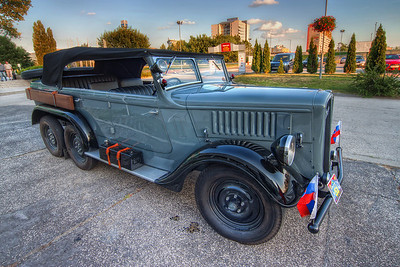 War veteran  Looking at this car, I have to think of all the WW2 documentaries i have seen. This one was beautifully restored, with all the details, like a shovel on the side (the other side :)).  HDR from three shots, taken with Canon 450D with Sigma 10-20mm lens, from a tripod.