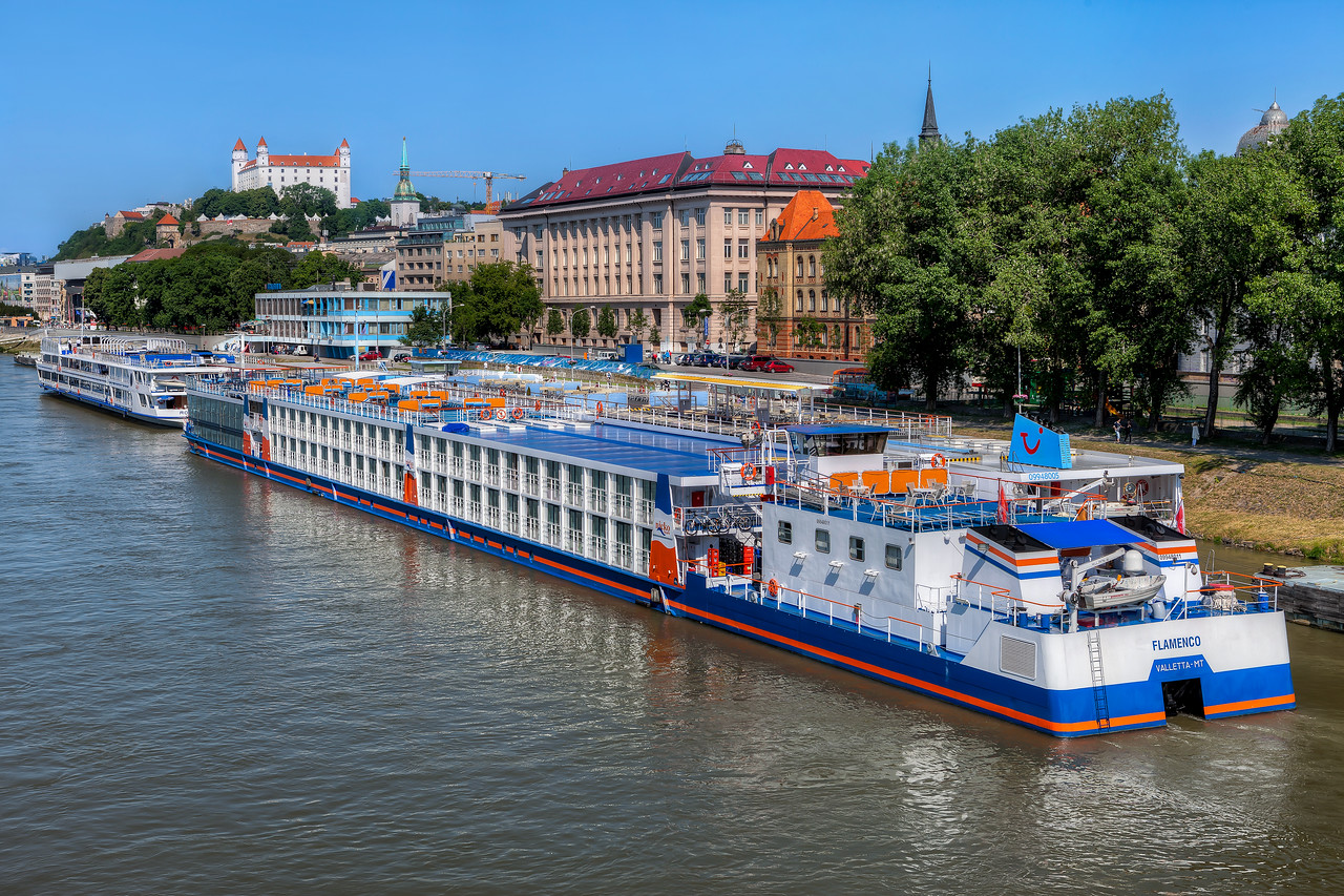 Colorful ships on Danube As summer is closer and closer there are more boats on Danube.