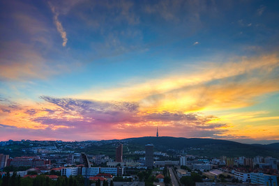 Sunset over Kamzik  I went a little through older photos and selected this one for today :) It was taken in May last year from Three towers apartments in Bratislava. I was one of those very nice evenings, visiting friends and taking a lot of photos :)  HDR from three shots taken with Canon 450D with Sigma 18-200 mm lens, from a tripod.