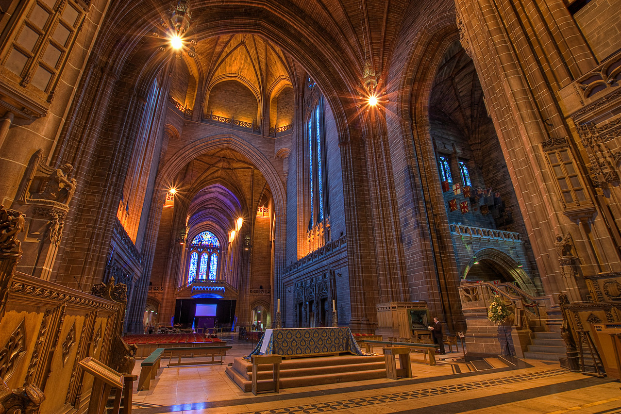 Inside Liverpool Cathedral  I had bad luck when I visited the Liverpool Cathedral this year. They were preparing for some kind of a award ceremony, so a big part of the cathedral was closed off. But still I managed to take some nice photos.  HDR from three shots, taken with Canon 450D with Sigma 10-20mm lens, from a tripod.