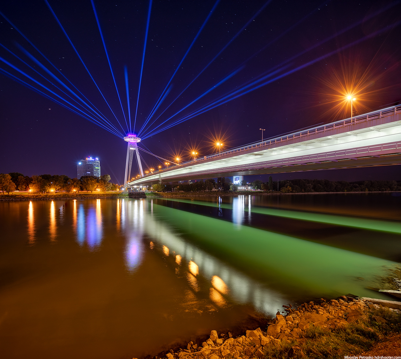 Light beams from the SNP bridge, White night, Bratislava, Slovakia