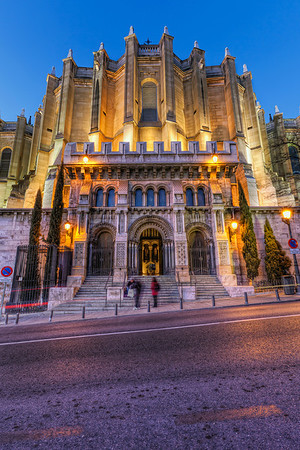 Entrance to the Neo-Romanesque crypt  I was in the Almudena Cathedral during the day, but somehow I missed that there is also a crypt under it. I noticed a sign later in the evening, when I was already returning slowly to the hotel. It's really a stunning place. I was the only one there at the time, so nobody was in the way and they have no problems if you use a tripod there.  Get more info about this photo on my blog http://blog.hdrshooter.net
