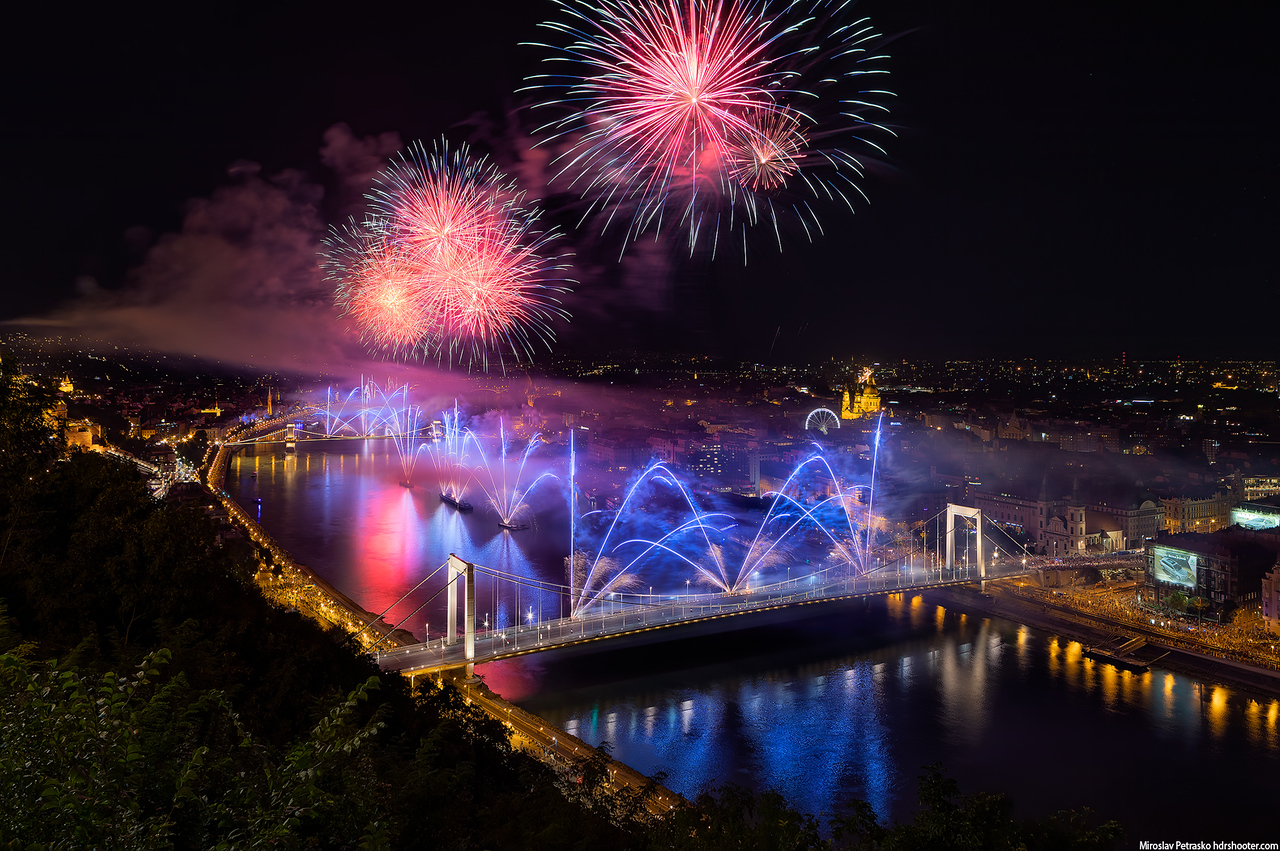 St. Stephen's day fireworks 2019, Budapest, Hungary