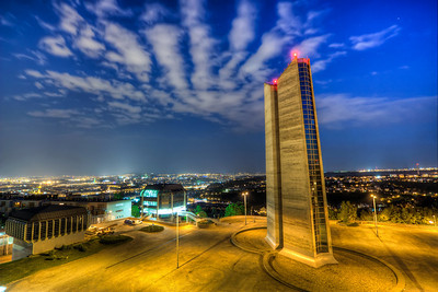 "Place from 2045  And again something different from Prague. And again a night shot. I don't really like my day shots, as there was a very bright sun, with no clouds at all. But at least the night shots came out nicely. The ""monuments"" are actually ventilation tower of a tunel running under Strahov :)  The name for this photo was not my idea, but of a fellow photographer David Kerny who shown me this great place :)  HDR from three shots, taken with Canon 450D with Sigma 18-200mm lens, from  a tripod."