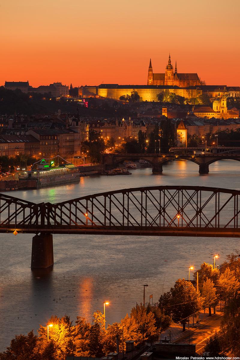 Sunset lit Prague