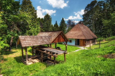 Back in time  It very interesting to visit these open air museums in Slovakia. Sometime you have luck, and there is nobody there, so for a moment you can feel like you have been transported back in time :)  This photo is from the one in Bardejovske Kuple in eastern Slovakia.  HDR from three shots, taken with Canon 450D with Sigma 10-20mm lens, from a tripod.