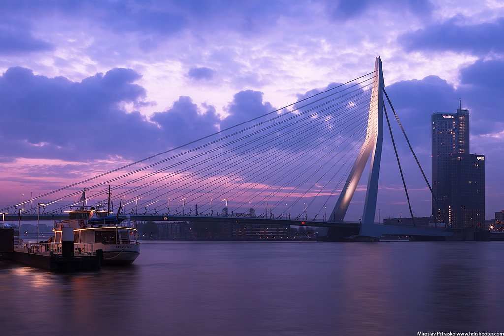 Early morning at the Erasmus Bridge in Rotterdam