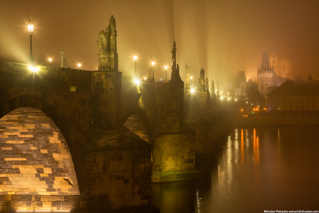 Lights in the fog in Prague