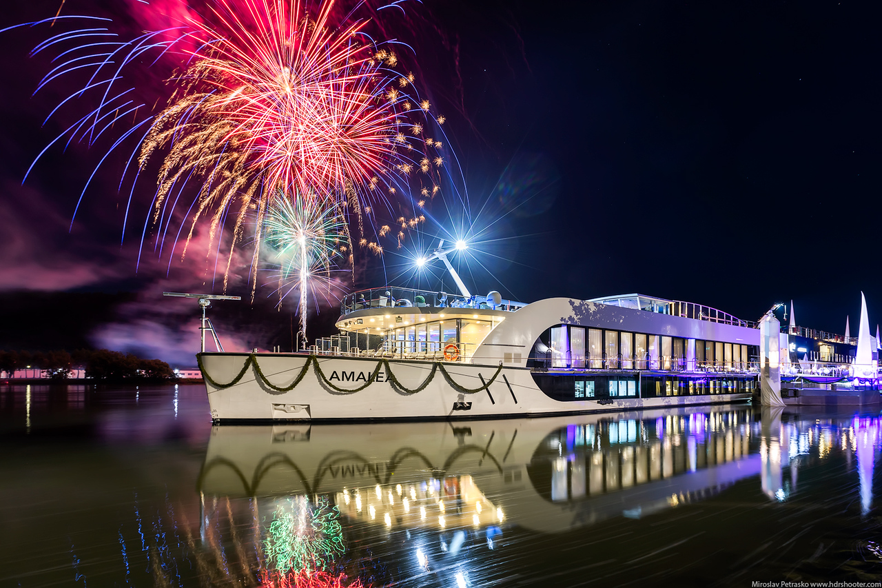 Fireworks at the AmaLea christening, AmaWaterways, Vilshofen, Germany