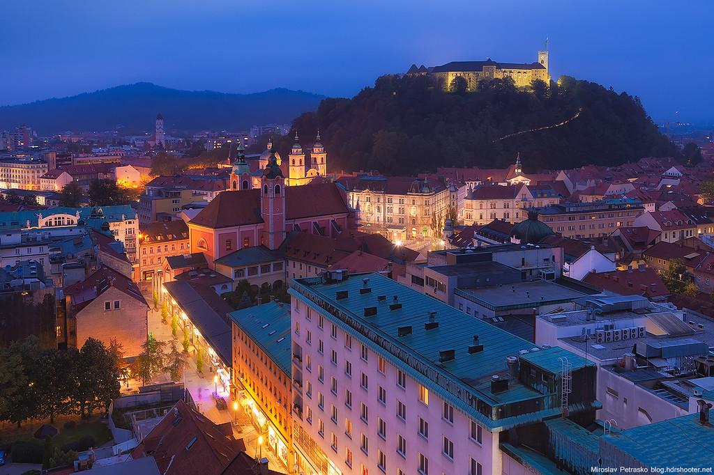 Rainy evening in Ljubljana