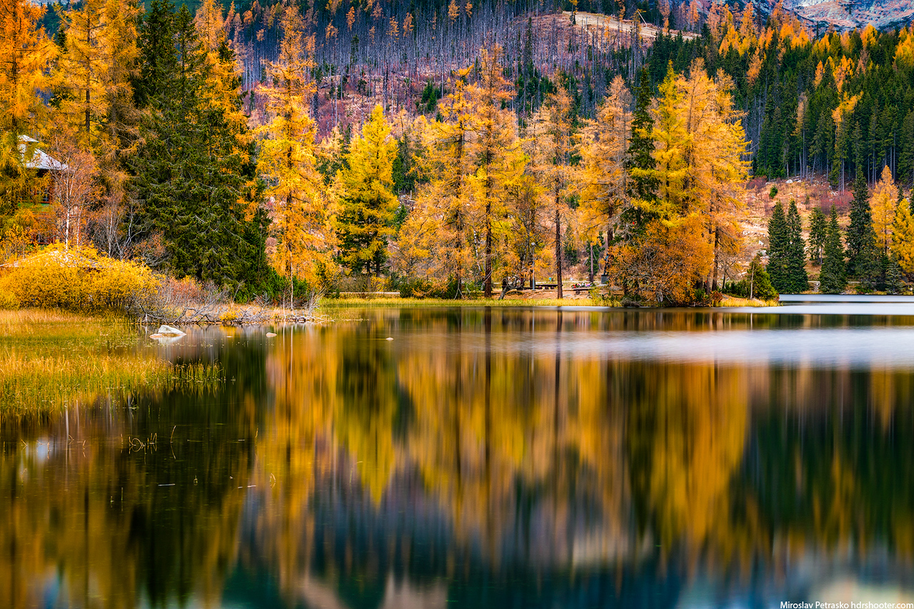 Autumn colors reflection, Strbske pleso, High Tatras, Slovakia