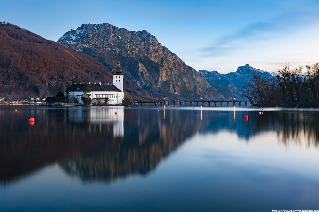 Evening reflection at the Schloss Ort, Traunsee, Austria