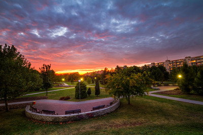 Bratislava Sunset  To break up all the Prague photos, here is one from Bratislava :). One more shot I took in the Ruzinov park at sunset.  HDR from 6 shots, taken with Canon 7D with Sigma 10-20mm lens, from a tripod.