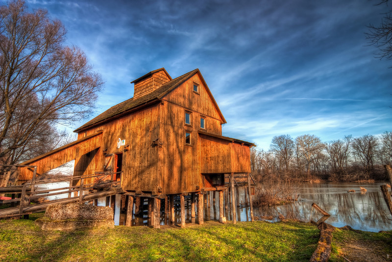 On Water  The water mill in Jelka from a different side. I still cant believe, that this was taken in the middle of January. No snow, green grass, warm weather. Nice time to take photos.  HDR from three shots, taken with Canon 450d with Sigma 10-20mm lens from a tripod. Taken near the village Jelka in western Slovakia