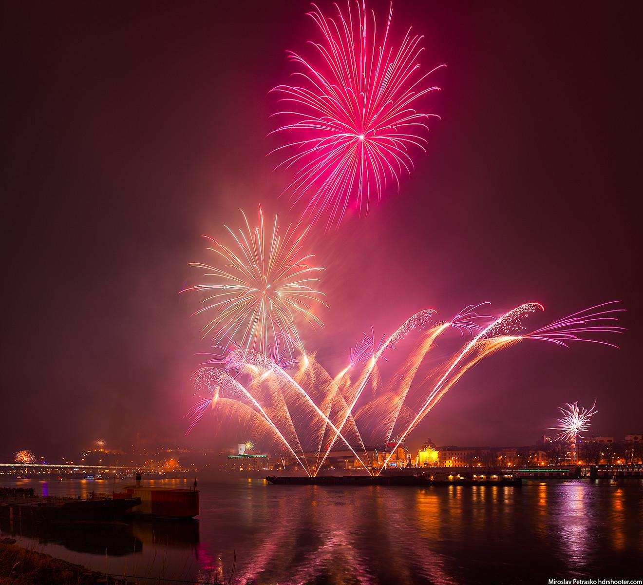 Fireworks over the city, Bratislava, Slovakia