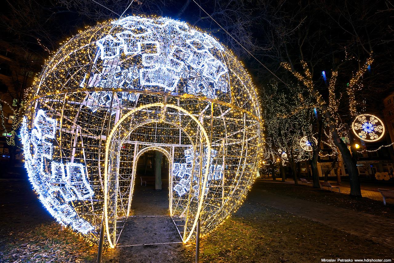 Enter the huge Christmas ball
