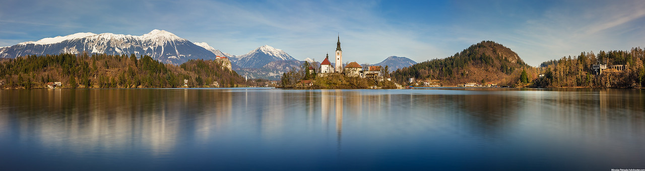 Spring panorama at the lake Bled, Slovenia