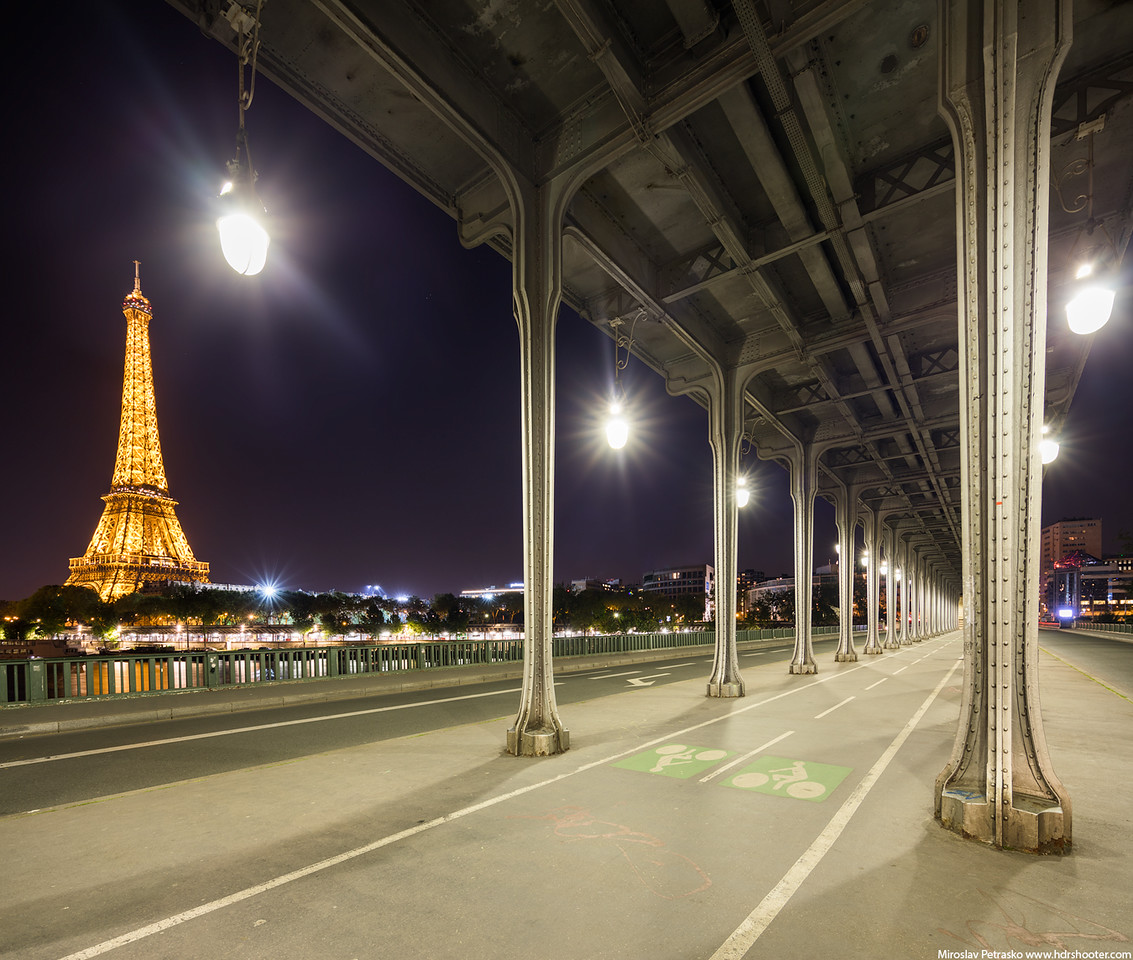 A cold and windy evening view Paris Bir Hakeim France Eiffel tower