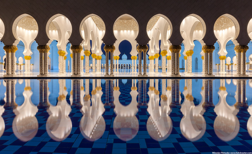 The pillars reflection in the Grand Mosque, Abu Dhabi